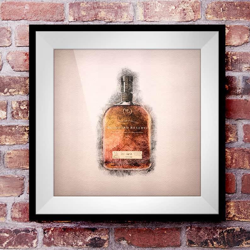 whiskey enthusiast gift: Crosshatch Whiskey Wall Art