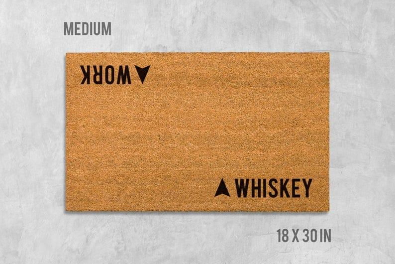 housewarming gift idea for whiskey drinker: whiskey - work door mat