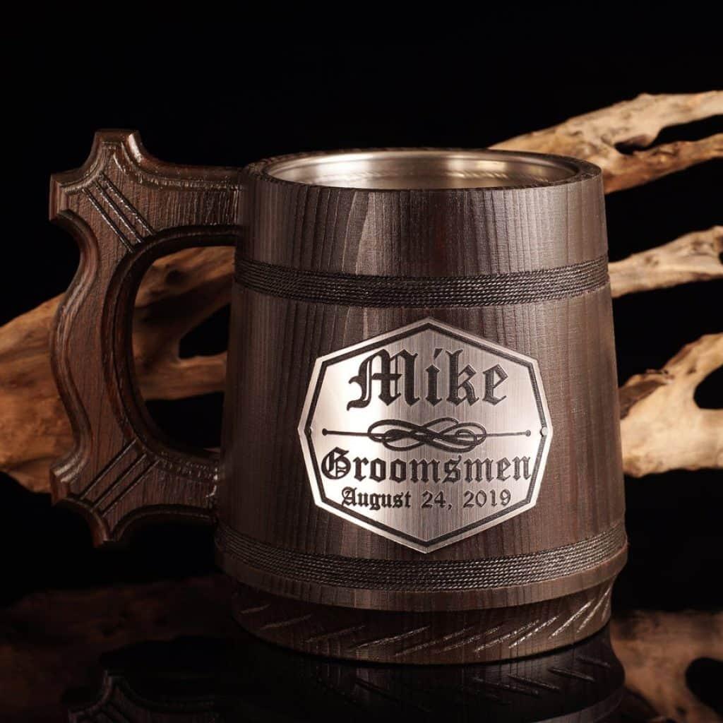 Wooden Tankard with name on it - best groomsmen gift ideas