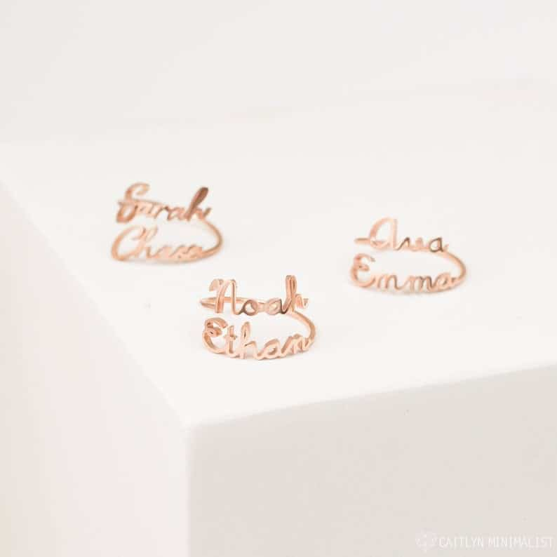 cute gift ideas for best friend: double name ring