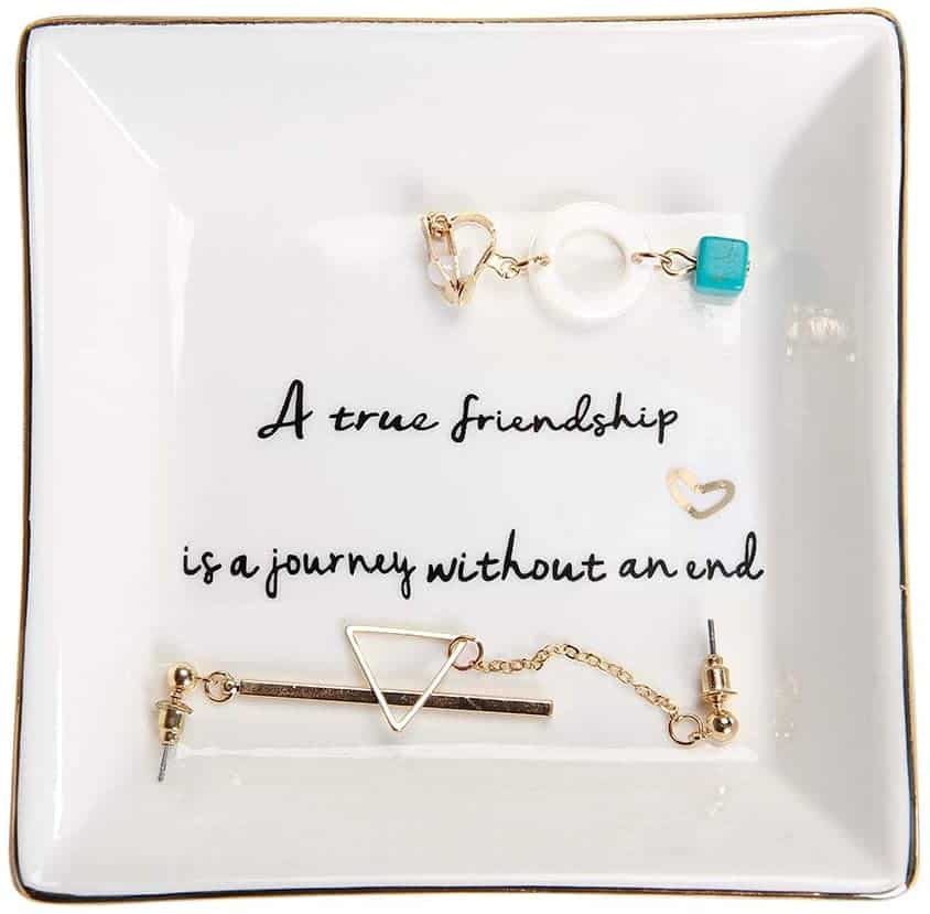 best friend gifts: ring trinket dish with quote about friendship