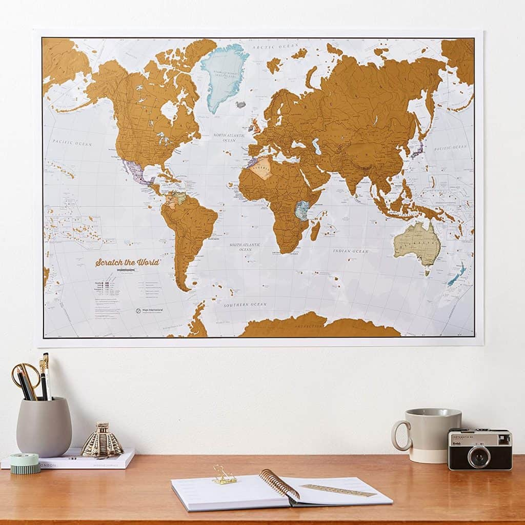 gift for friends who like travelling: Scratch Off World Map Poster