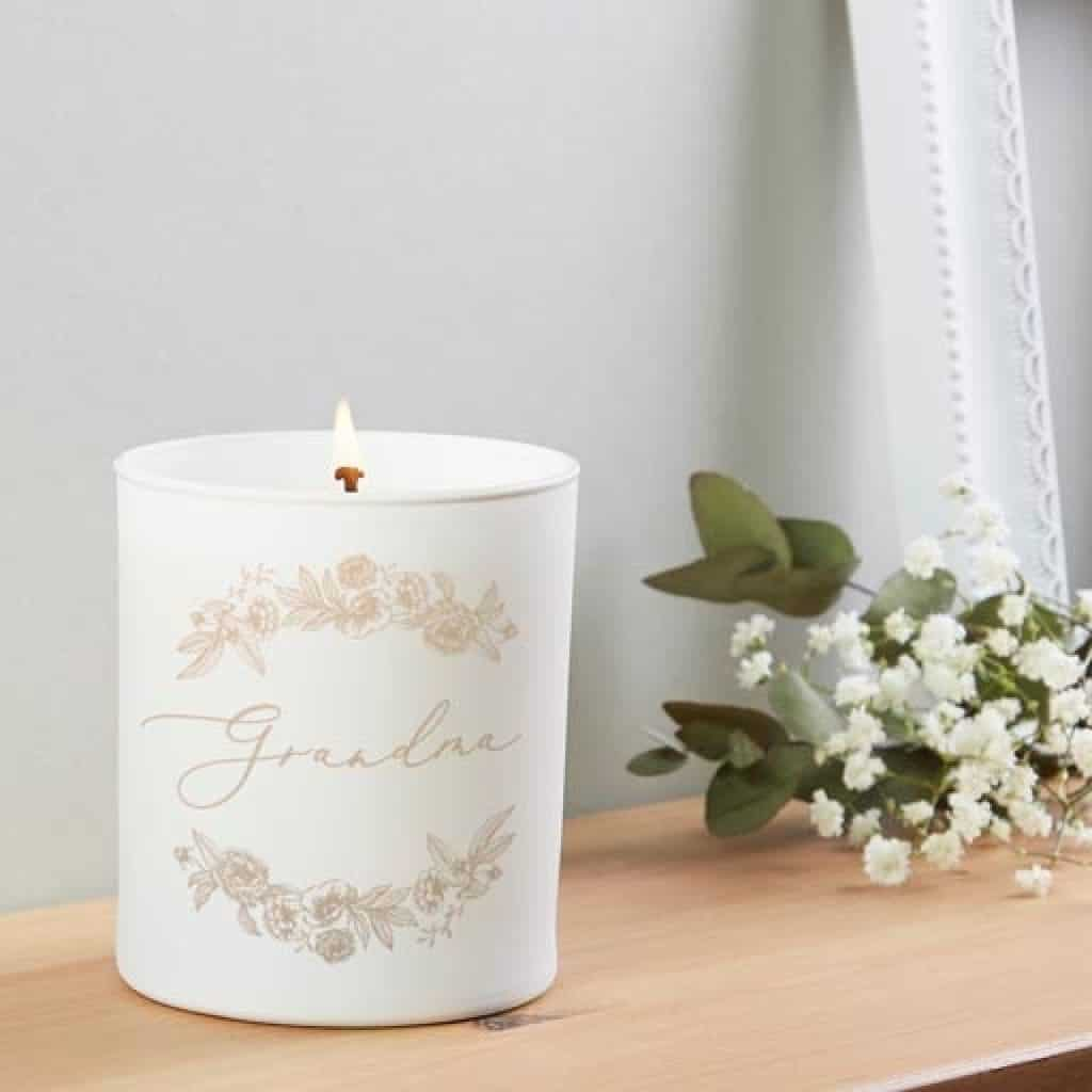 White Floral Candle