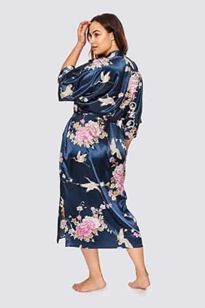 Plus Size Women's Satin Kimono Robe