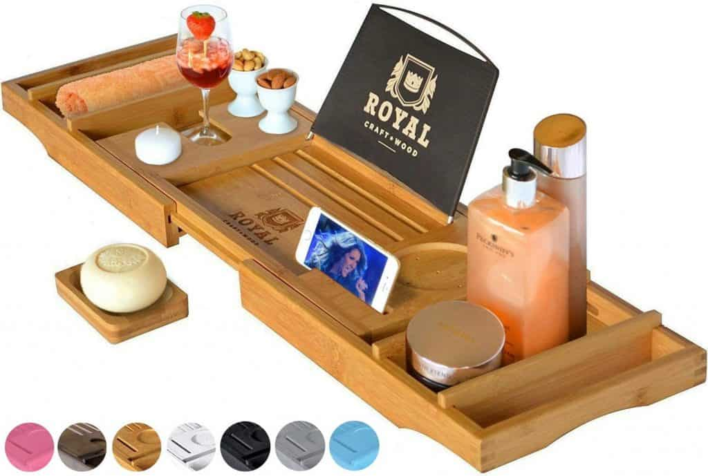 gift for woman who has everything: bathtub caddy tray
