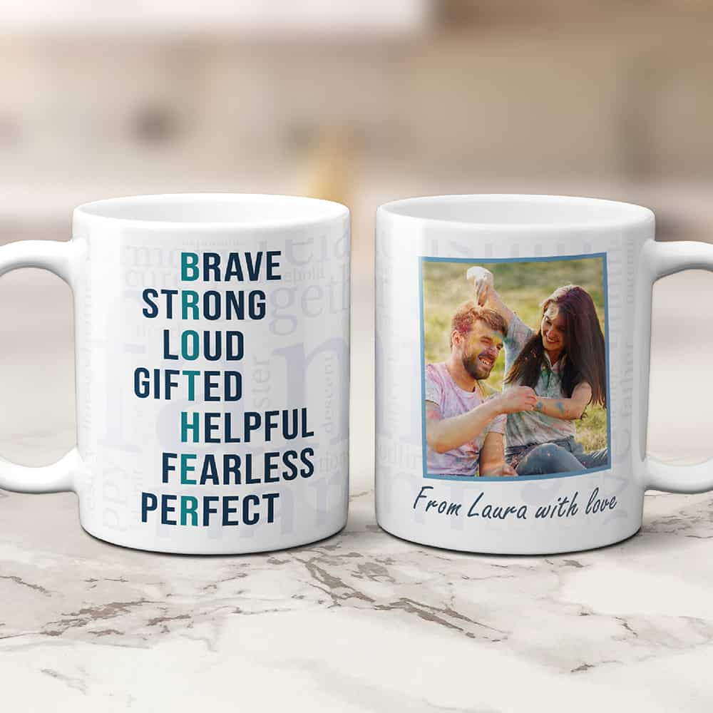 brother gifts: brother acronym photo mug