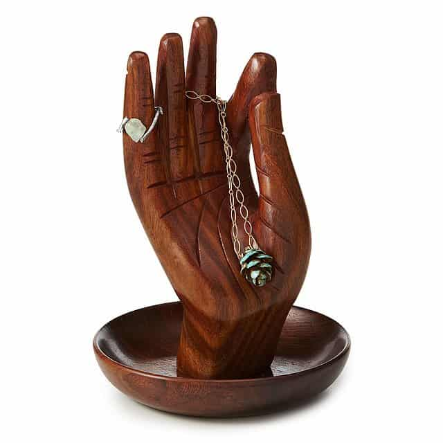 yoga gifts for her: hand of buddha jewelry stand