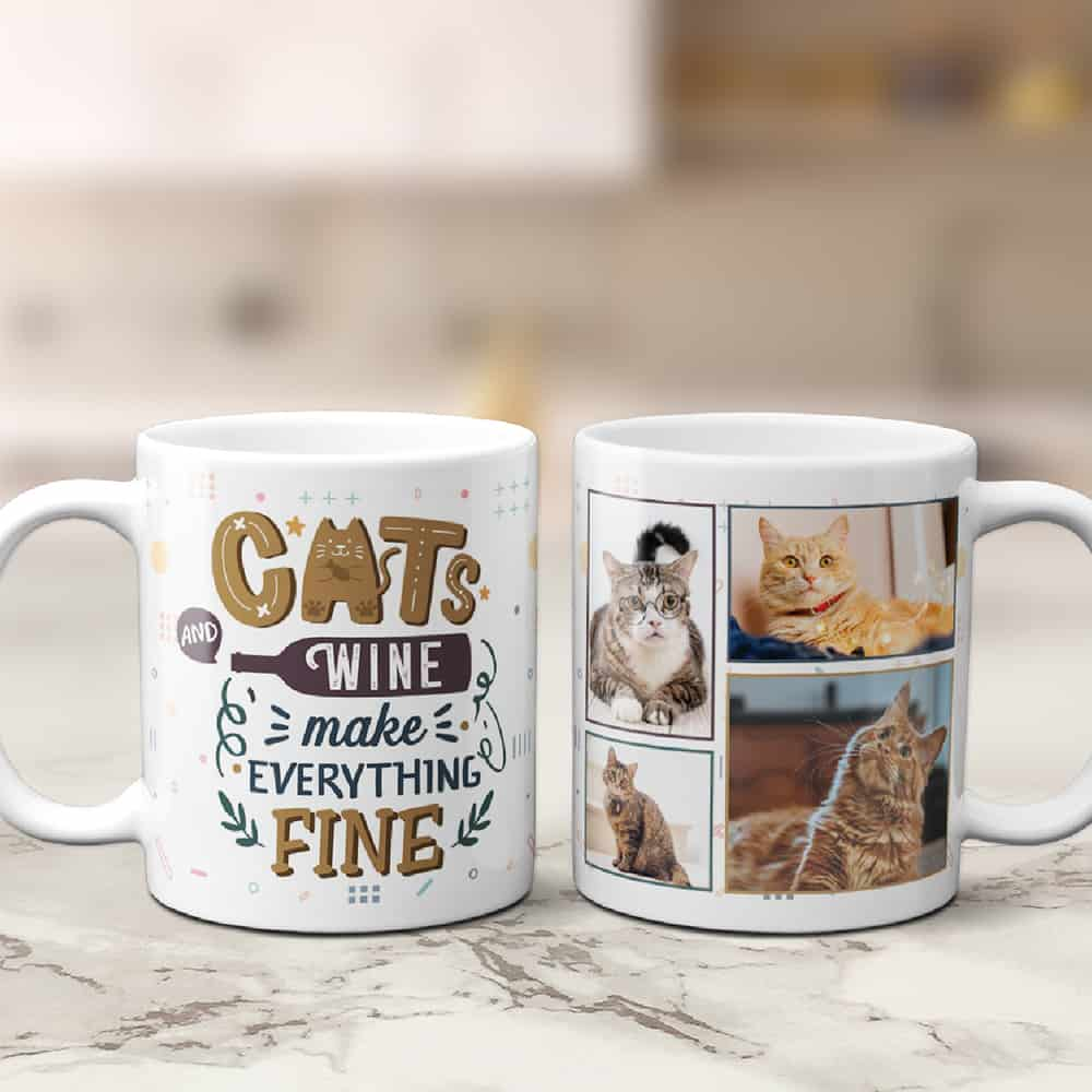 Cats And Wine Make Everything Fine Custom Photo Collage Mug