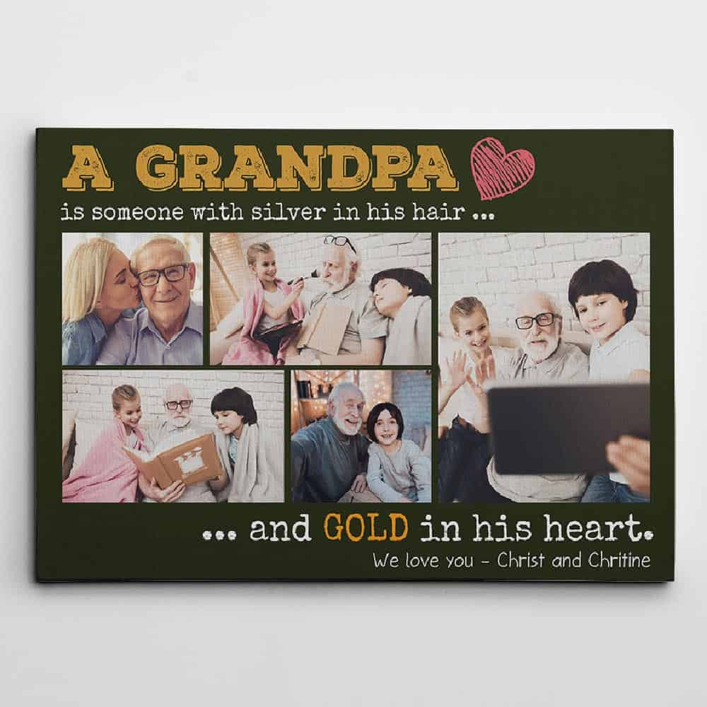 gift for grandfather: grandpa custom photo canvas print