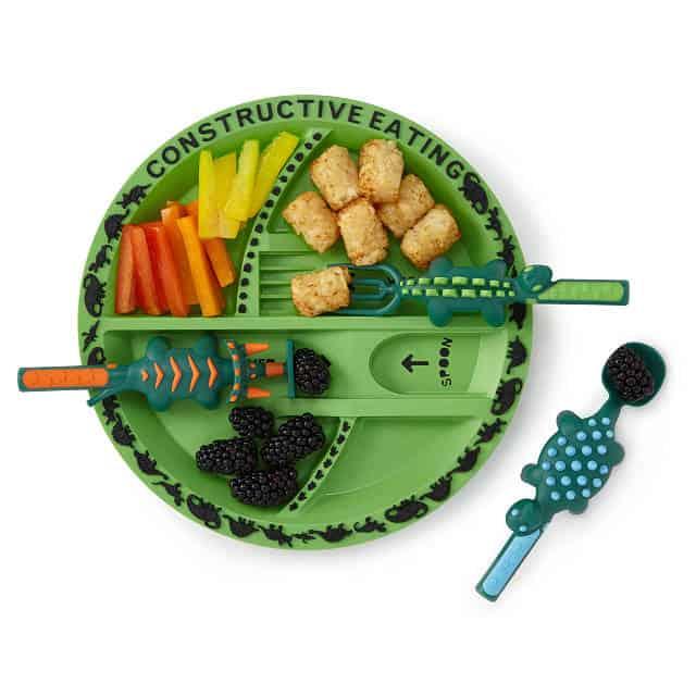 toddler stocking stuffer ideas: dinosaur plate and utensils