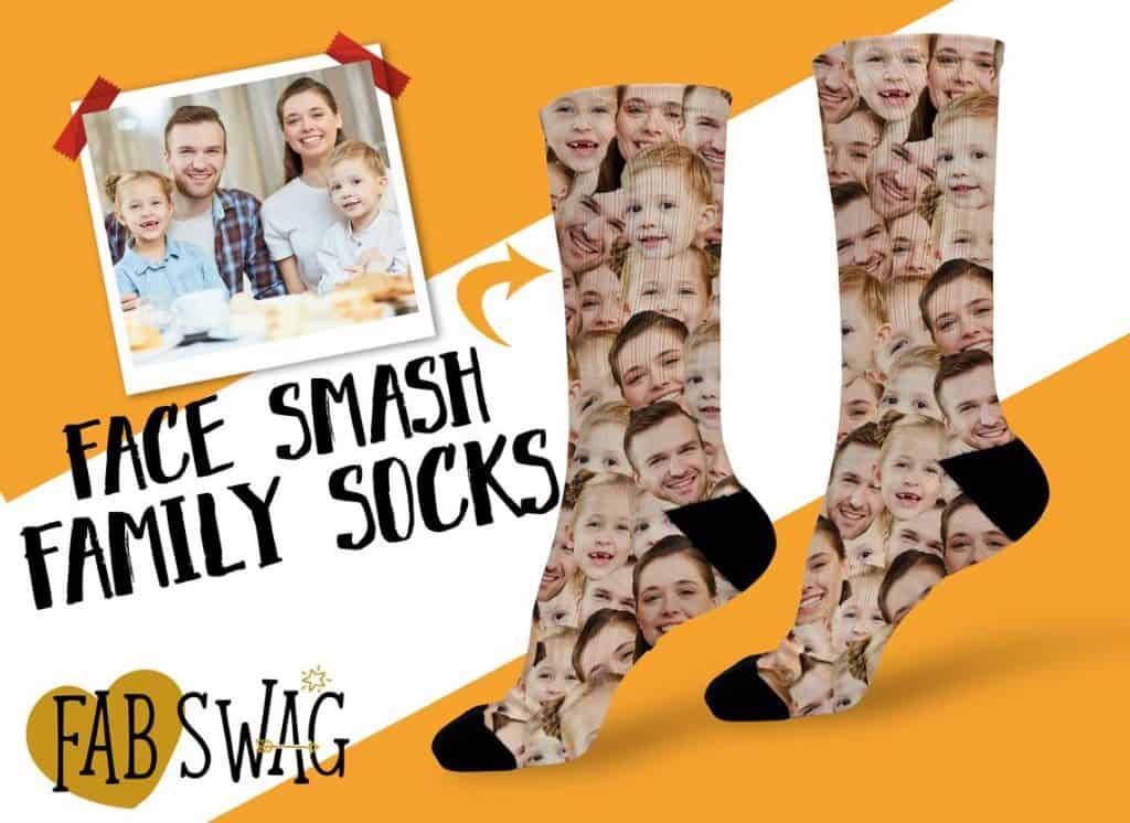 funny christmas gifts for mom: custom face socks