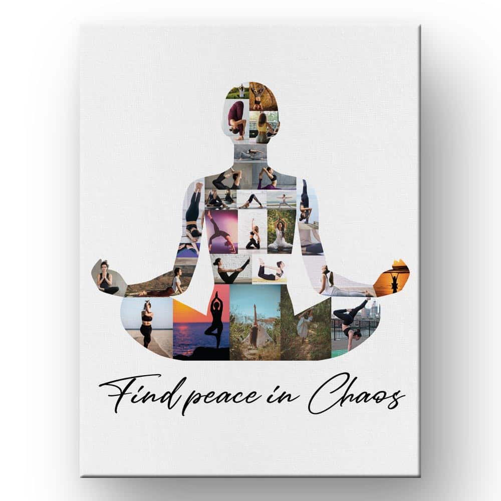 gifts for yoga lovers: yoga photo collage canvas print