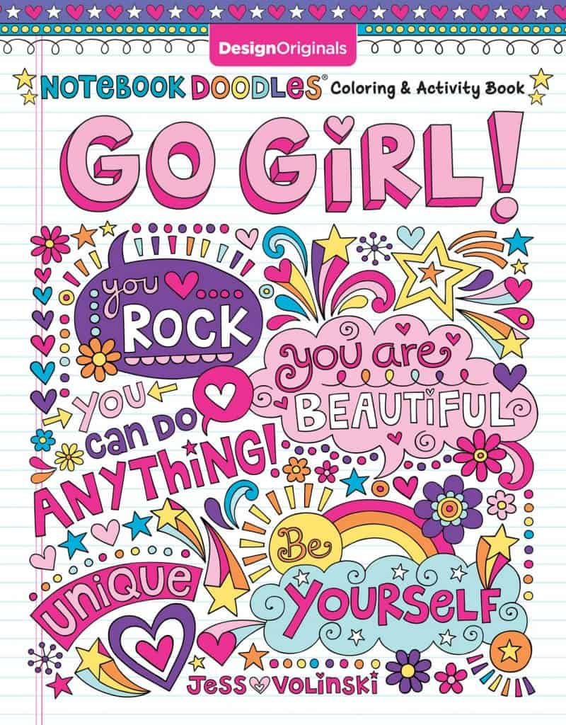 christmas stocking stuffer ideas for girls: Notebook Doodles Go Girl!: Coloring & Activity Book
