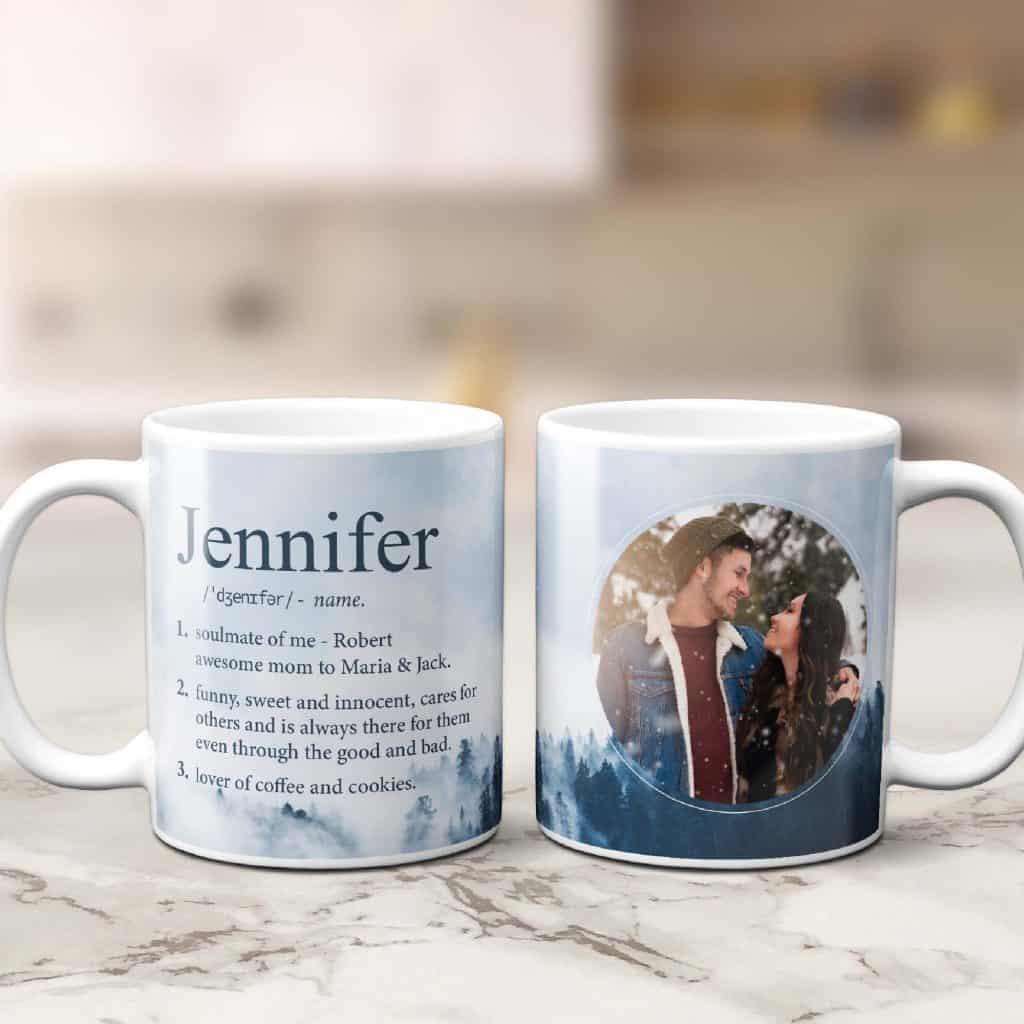 stocking stuffers for her: name definition custom photo mug