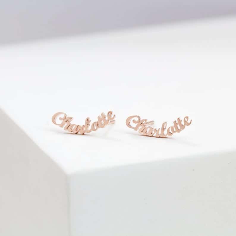 stocking stuffer ideas for her: minimalist name earrings