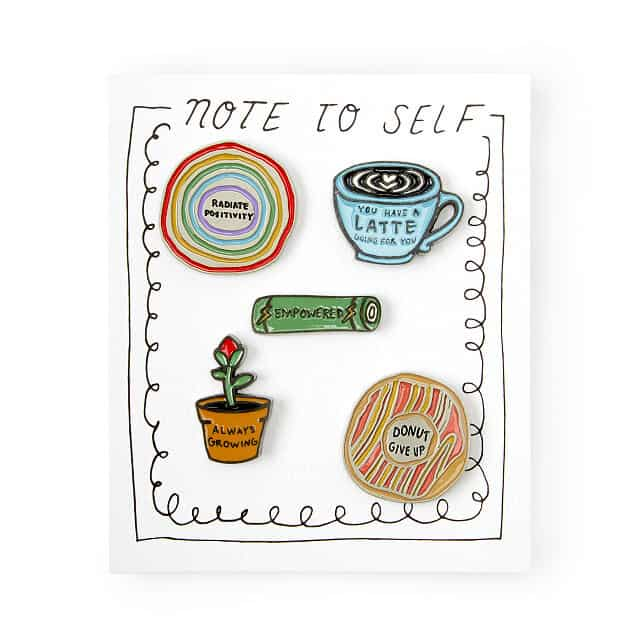 stocking stuffer ideas for teens: Note to Self Pin Set