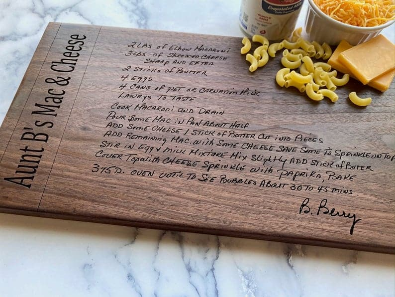 gifts for mom christmas: Personalized Cutting Board with Recipe Engraved