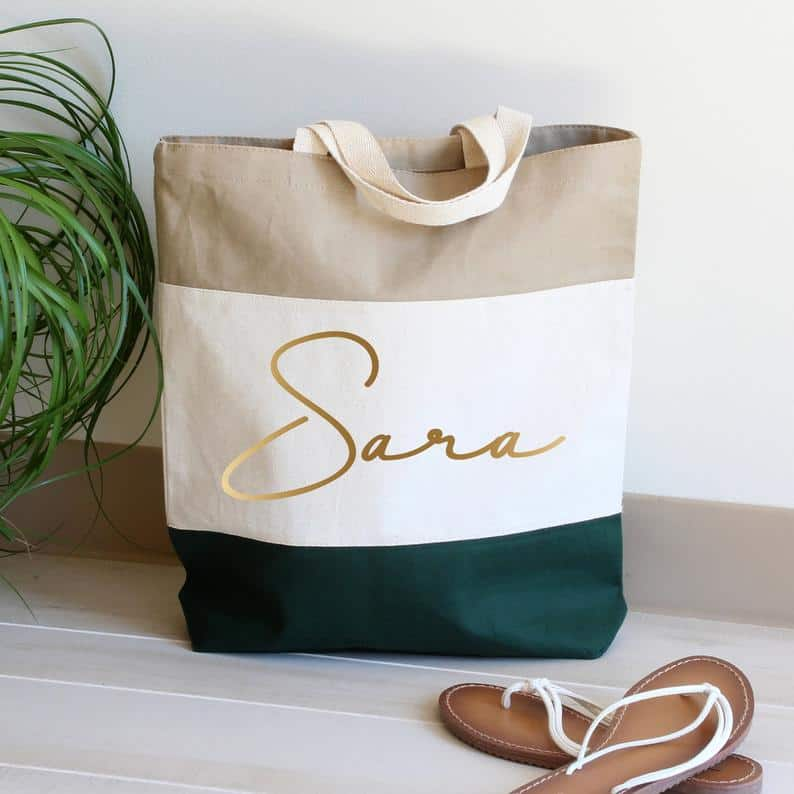 yoga gifts for her: personalized tote bag