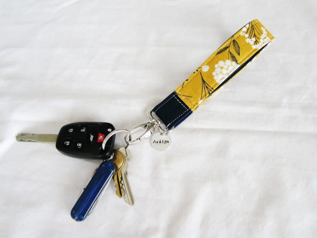 cheap stocking stuffer: Personalized wristlet keychain