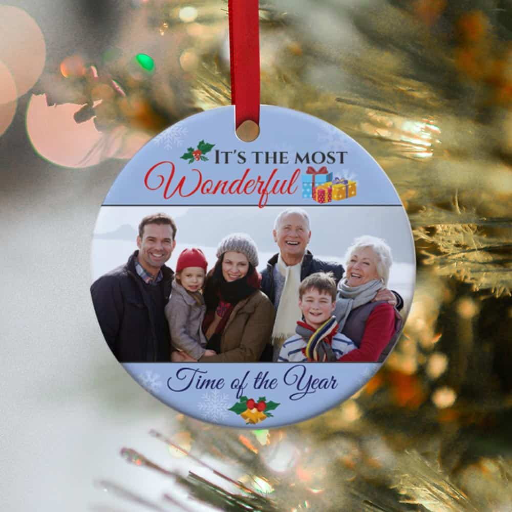 christmas gift ideas for men: family photo ornament