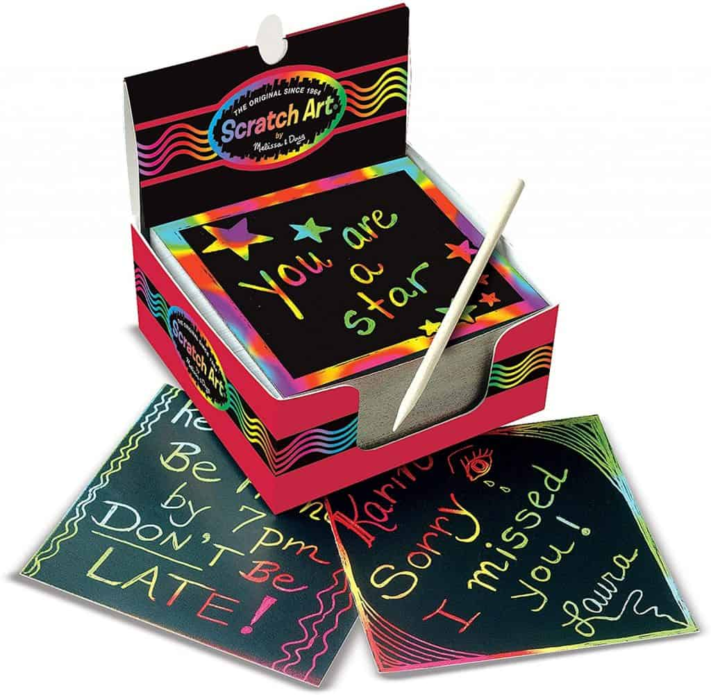 kid stocking stuffers ideas: Scratch Art Box of Rainbow Mini Notes