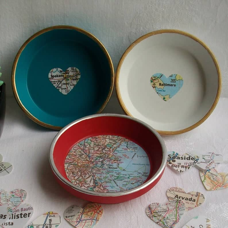 best gifts for mom christmas: Ring Dish with Custom Map