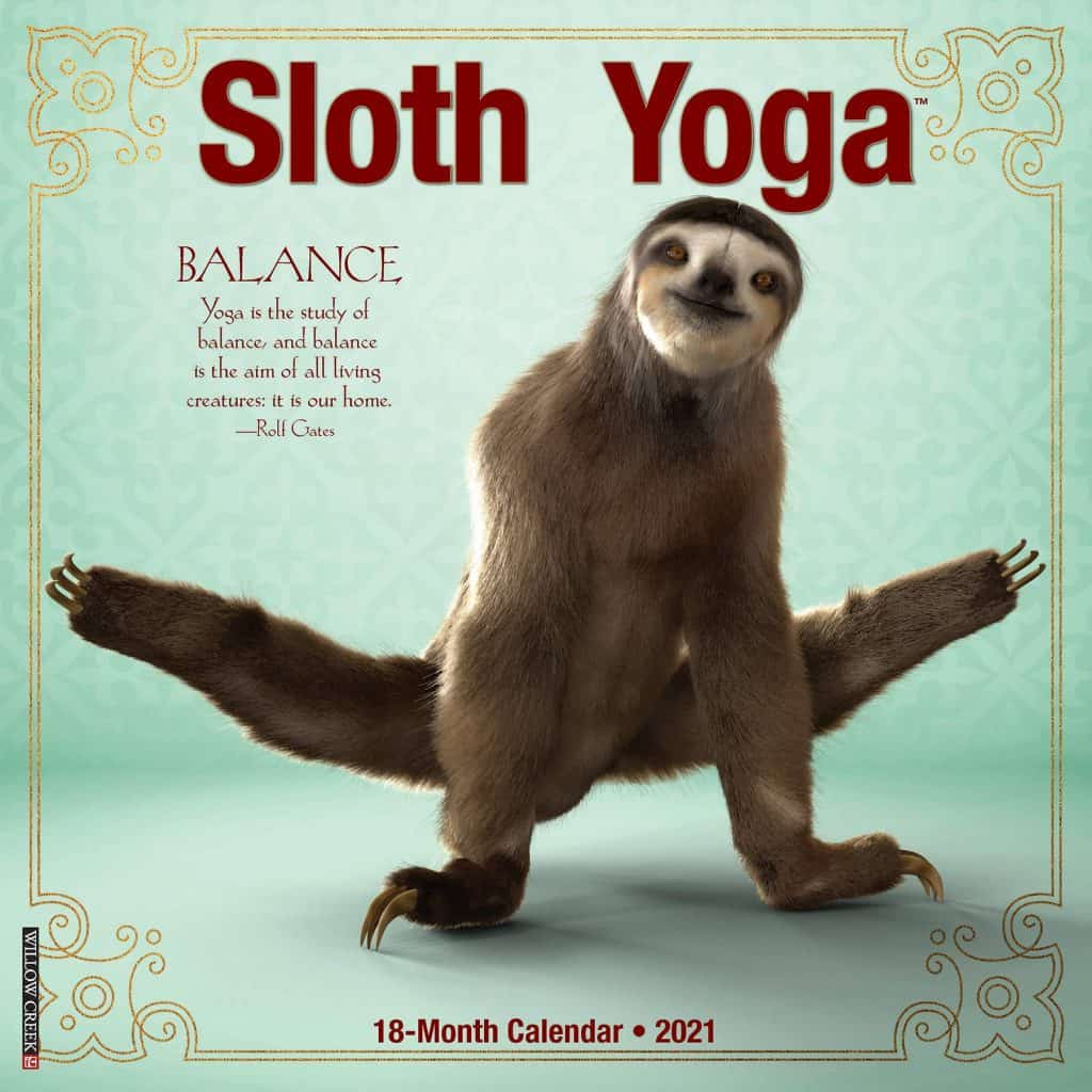 yoga presents: sloth yoga wall calendar
