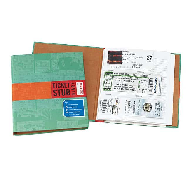 unique gifts for him: ticket stub diary