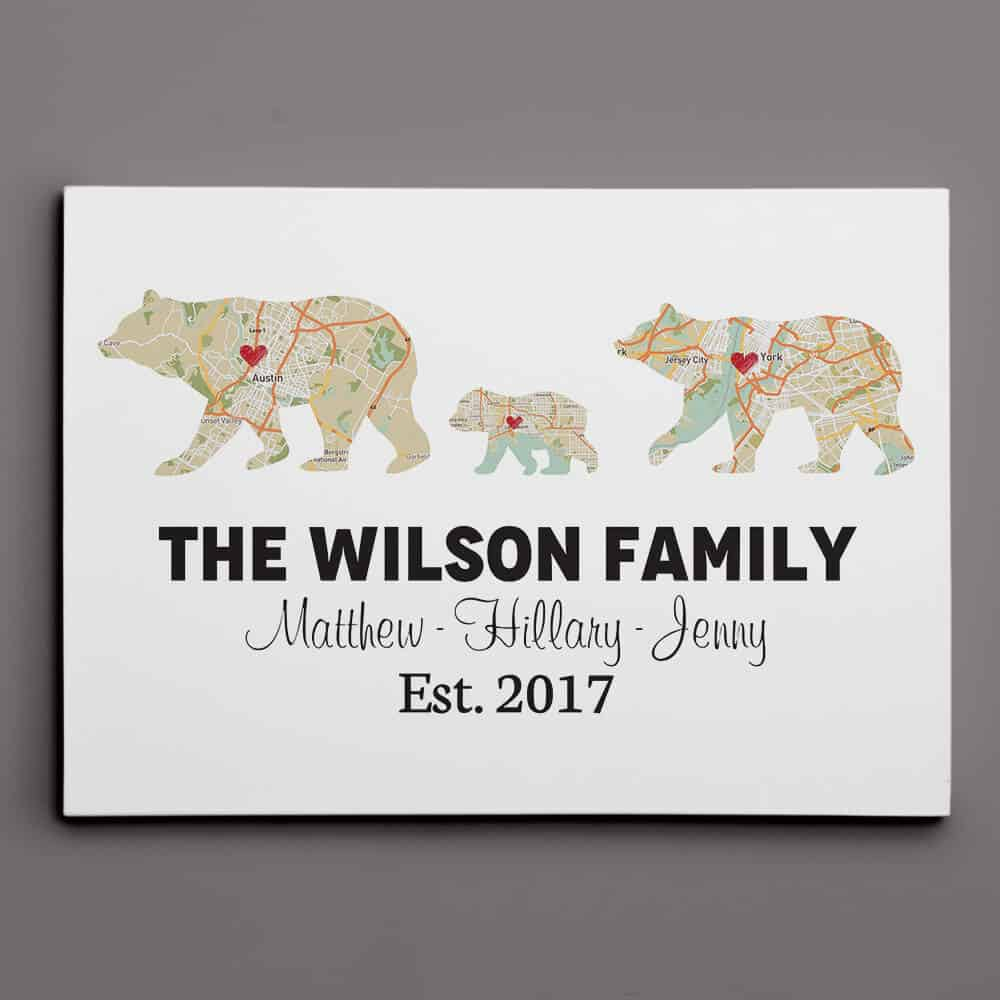 personalized gifts for new moms: Bear Family Retro Map Custom Canvas Print