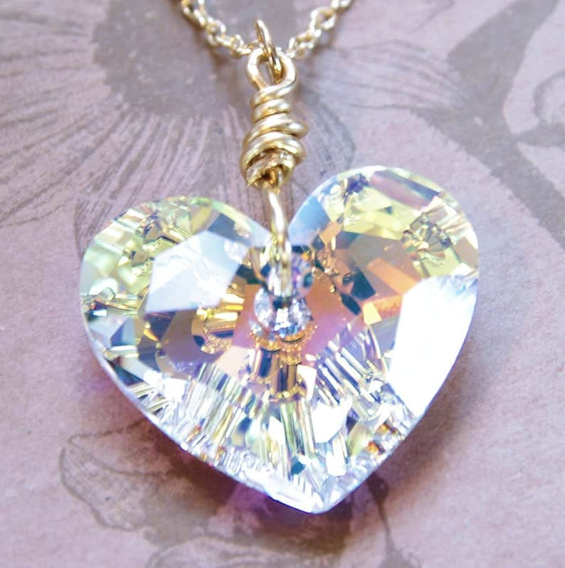 15 year anniversary:Swarovski Crystal Heart Pendant Necklace 