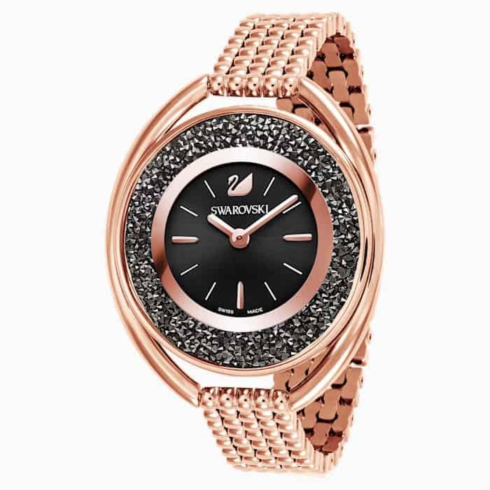 fifteenth anniversary gift: warovski Crystalline oval watch in Black Rose Gold