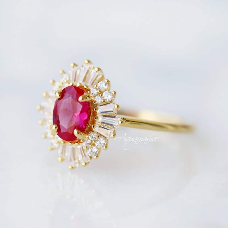 crystal anniversary:Victoria Ruby Ring