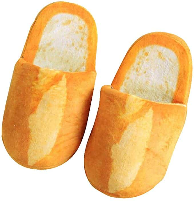 gag gifts for women: baguette slippers
