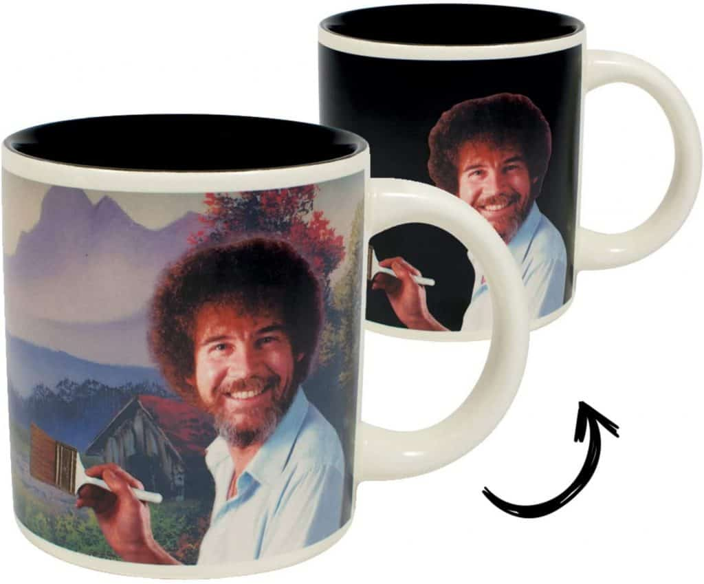 fun white elephant gifts: bob ross heat changing mug