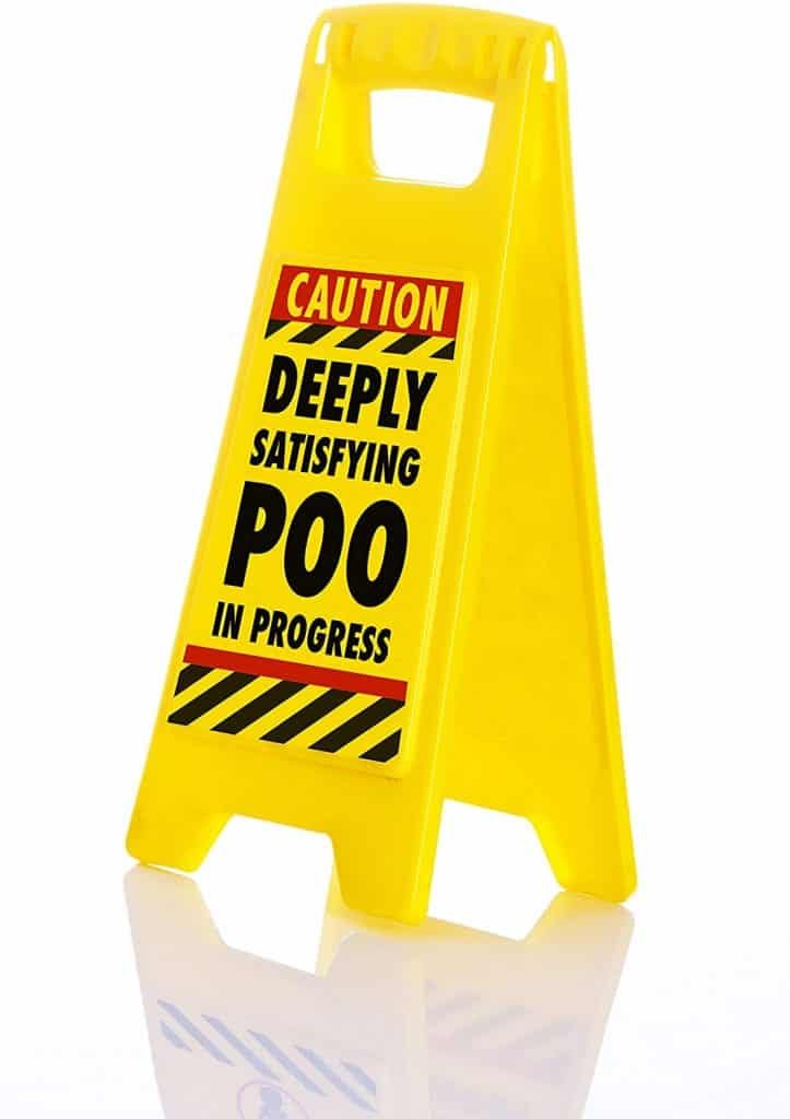 good gifts for white elephant: 'deeply satisfying poo in progress' toilet sign
