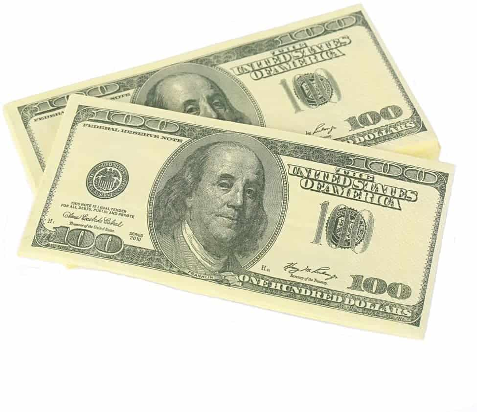 funny cheap gifts: dollar bills napkins