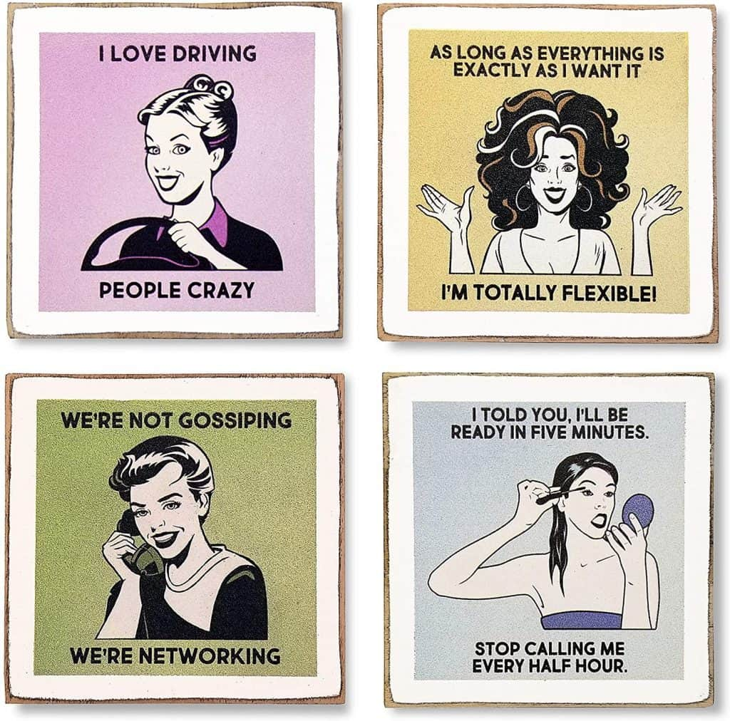 funny gifts for women: funny coasters