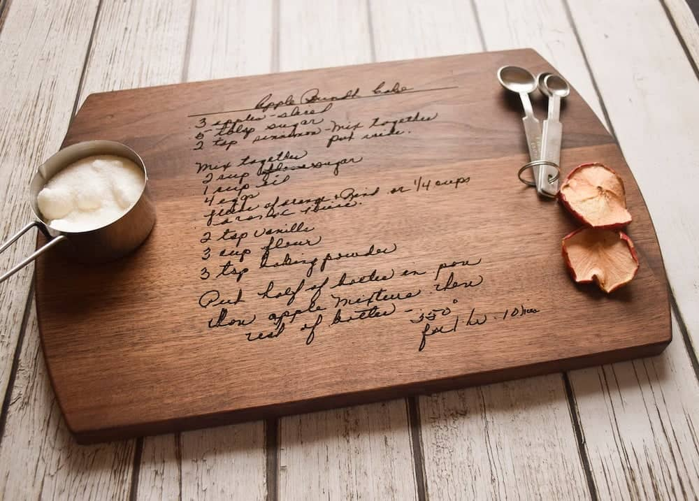 sympathy gifts - a cutting board with Grandma's Handwriting, Engraved Recipe