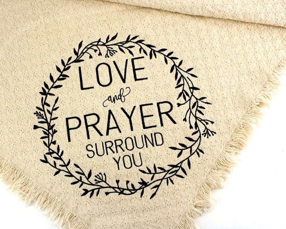 love and prayer surround you Embroidered Throw Blanket