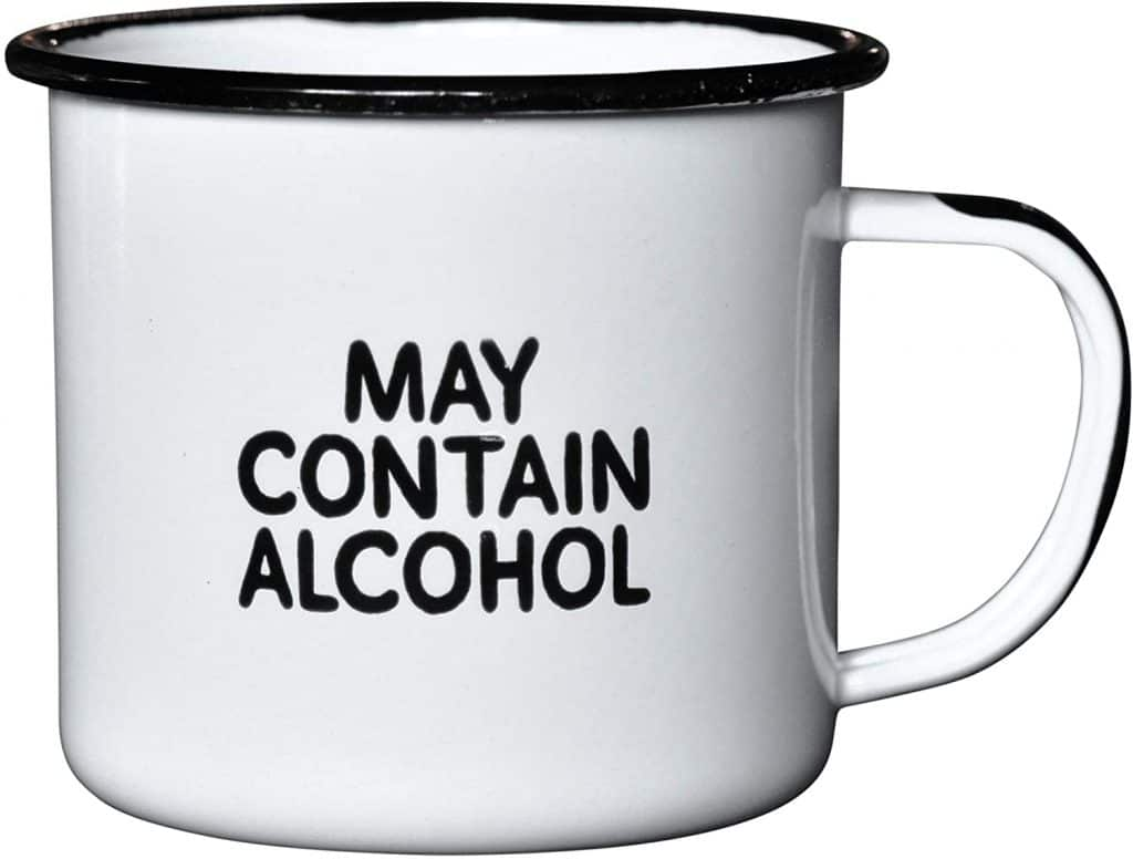 cool white elephant gifts: 'may contain alcohol' enamel mug