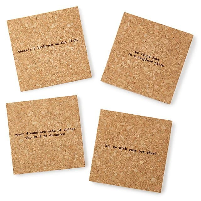 cool white elephant gifts: mistaken lyrics coasters