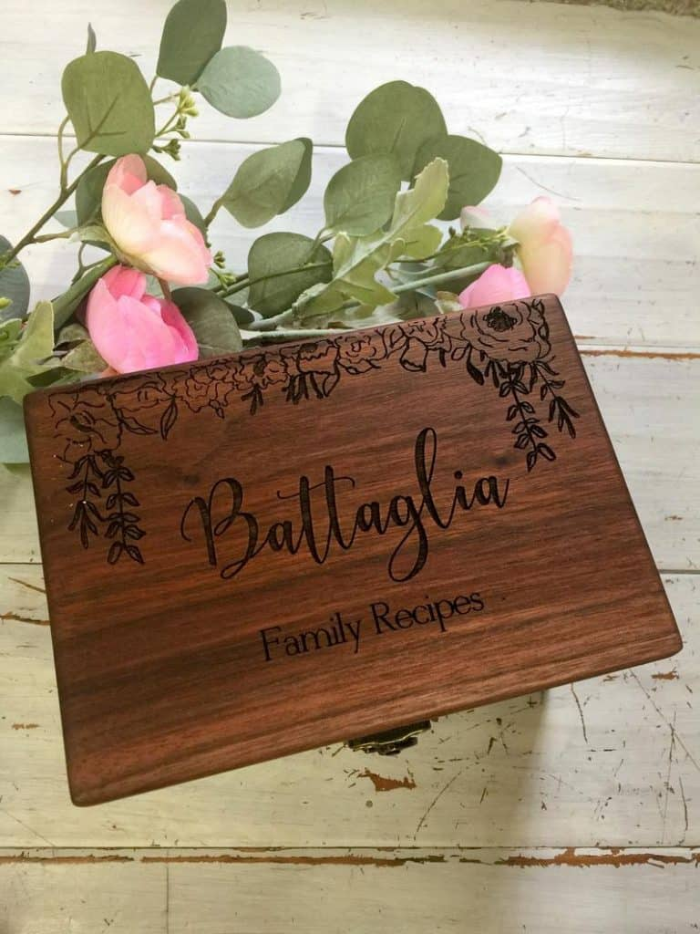 engraved wooden recipe box