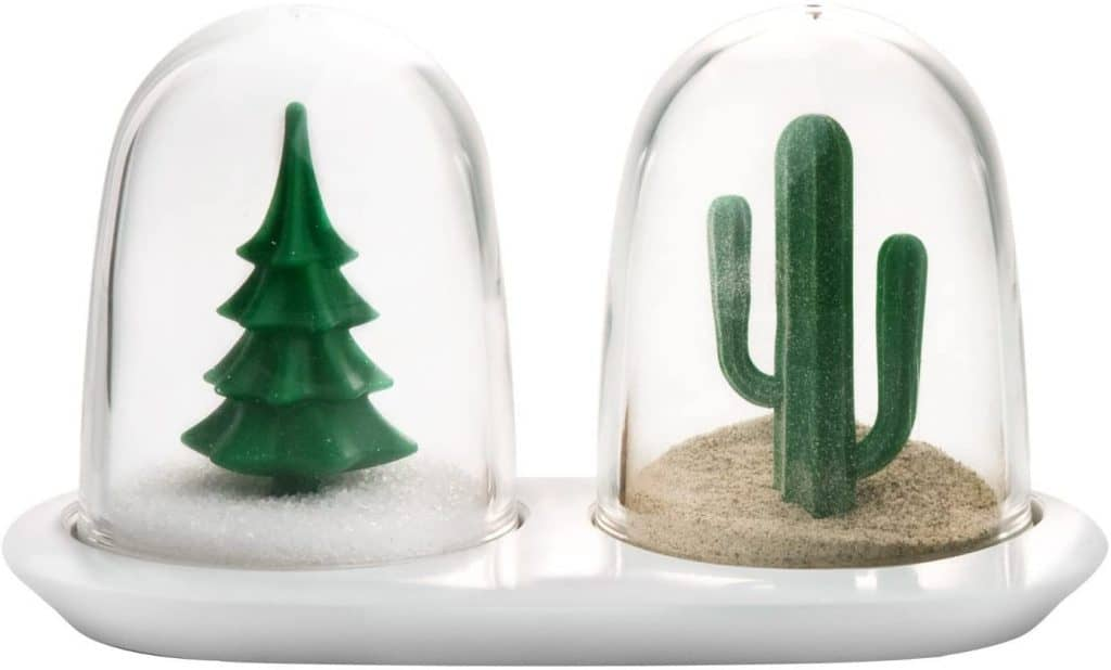 best white elephant gifts: winter summer salt and pepper shaker set