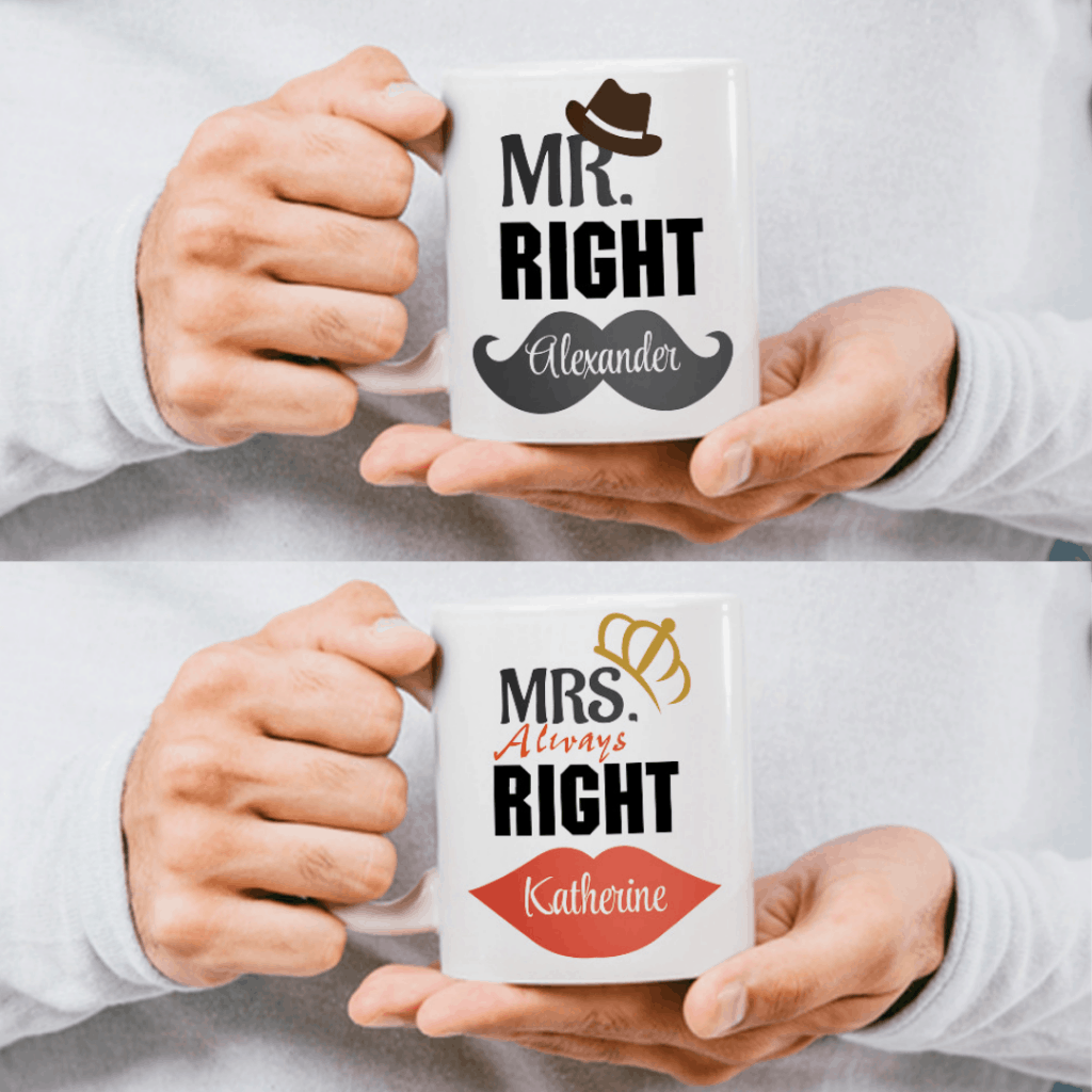 "far away lover gifts: ""Mr. Right and Mrs. Always Right"" Custom Couple Mugs"
