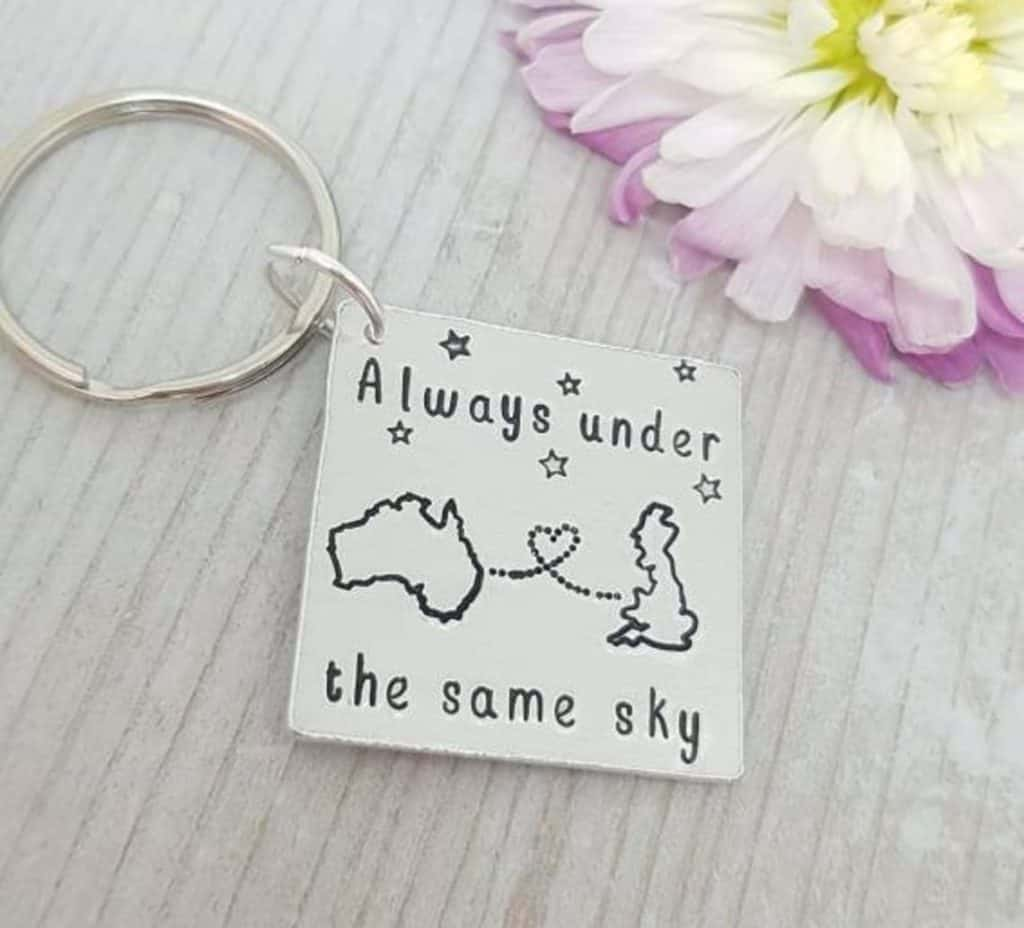 long distance relationship gifts: Always under the same sky Keychain