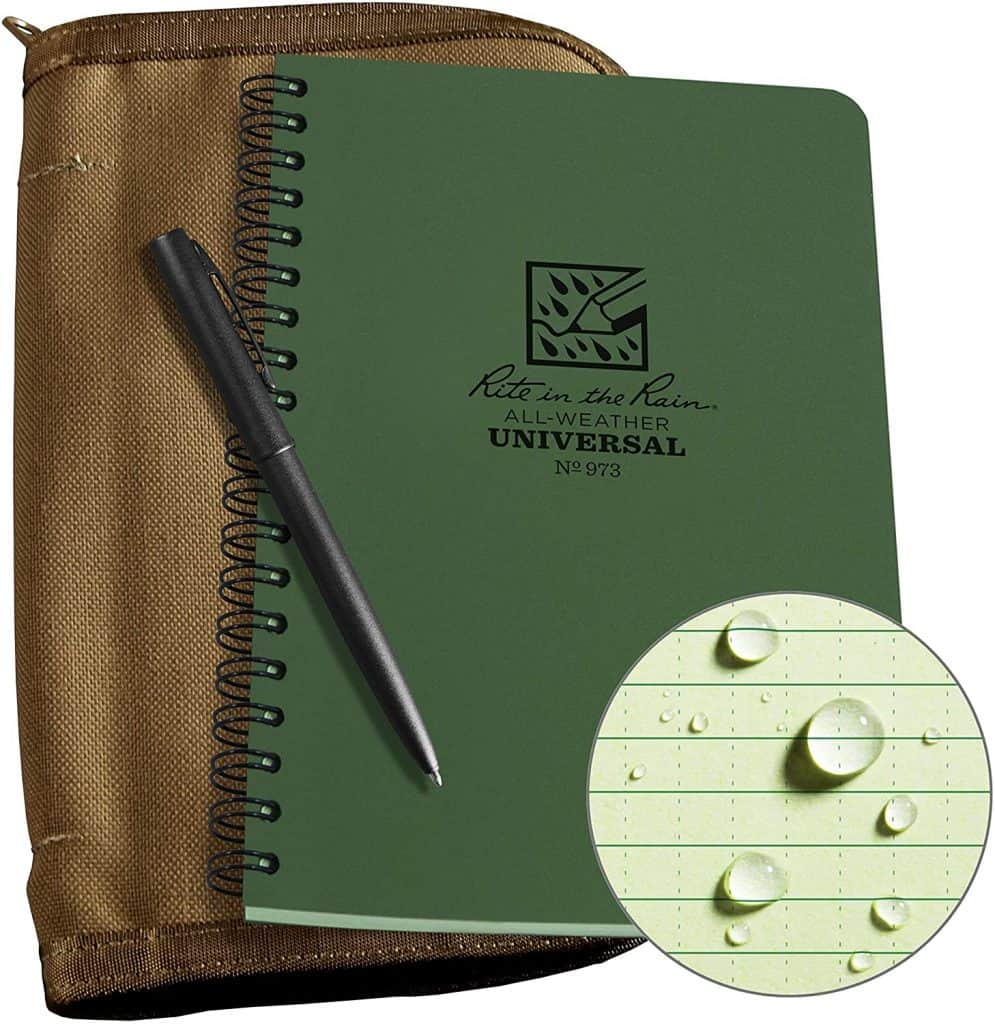 experience gifts for men: Green Notebook and Weatherproof Pen