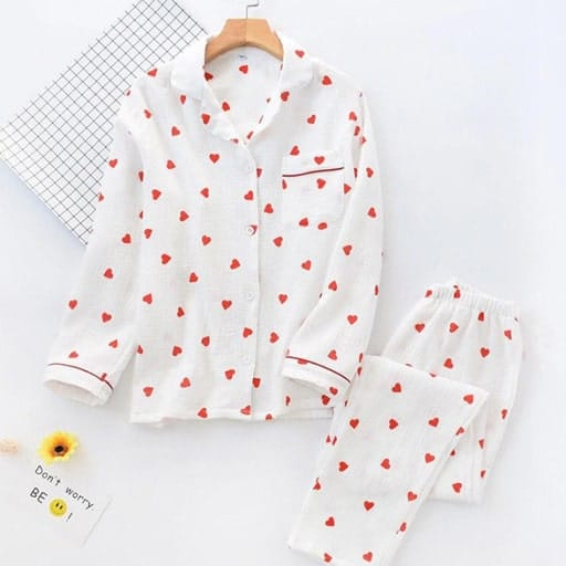 Heart Pattern Pajama Set gift for your love