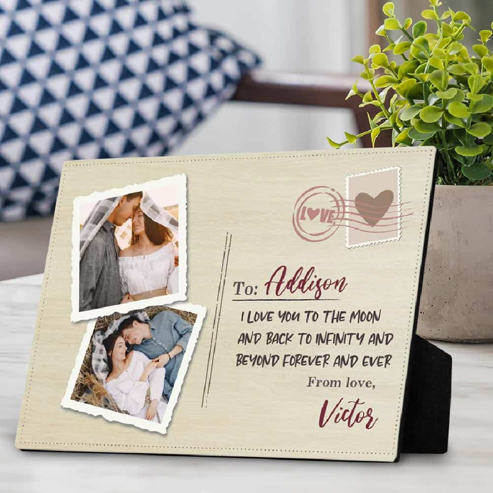 romantic gift for him: custom name and photo desktop plaque