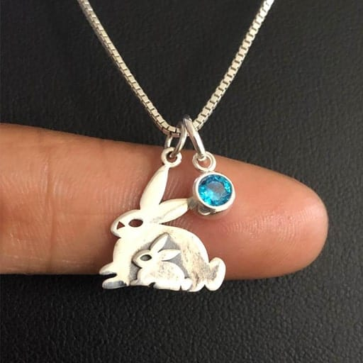 Mama and Baby Bunny Necklace - gifts for pregnant sister in law