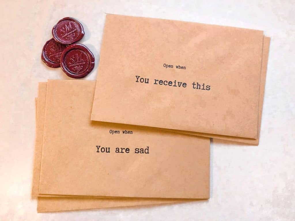 long distance gifts: Open When Envelopes Letters Set